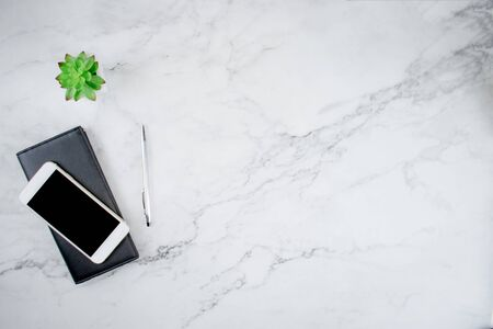 Top view of smartphone on leather bag And plant pots on modern office desks with copy space, flat lay. Imagens