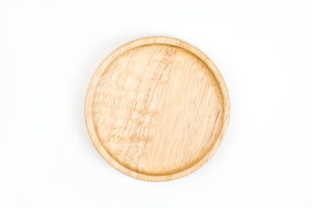 Flat lay wooden tray isolated on white background. Top view. 版權商用圖片