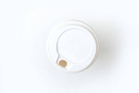 Paper coffee cup top view white background. Isolated. 版權商用圖片