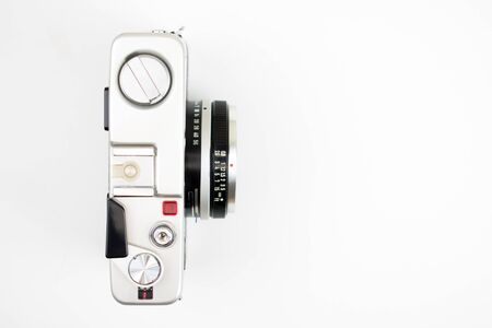 Top view, Vintage camera on a white background. Isolated background.