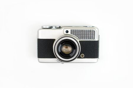 Top view, old film camera on a white background, isolated background. 版權商用圖片