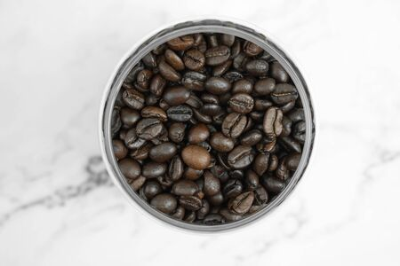 The top view of the coffee beans in the glass, Close up.