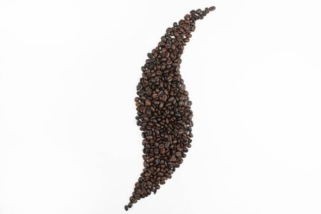 Coffee beans arranged in a smoke shape on a white background. Isolated background. 版權商用圖片