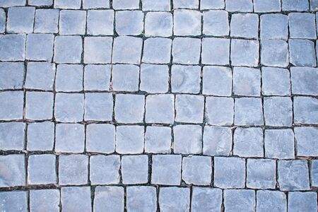 Stone and brick walkway pavement in the garden. Texture background. 版權商用圖片