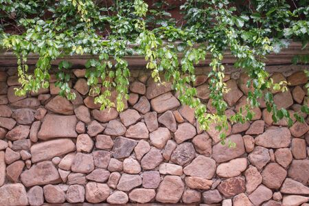 Masonry, stone and green branches with copy space.
