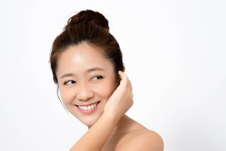 The skin of an Asian woman on a white background. Isolated background.