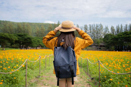 Asian woman tourist traveling alone in the flower fields.