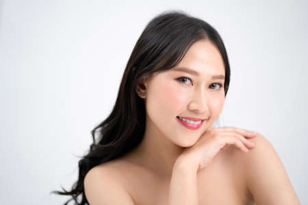 Portraits of beautiful Asian women with clean and fresh skin. Concept of beauty and spa.