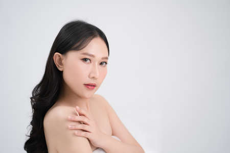 Bright facial skin of a beautiful Asian woman.