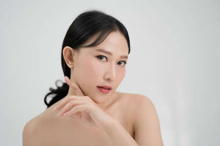 Asian beautiful woman have fresh skin and isolated from white background. Beauty concept. Banco de Imagens