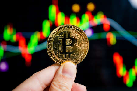 Close-up of a hand holding a bitcoin coin with a chart on the laptop screen in the background. Stock fotó