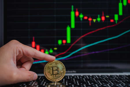 A man placed a Bitcoin gold coin and chart background on a laptop. Trading Concept Of Crypto Currency.