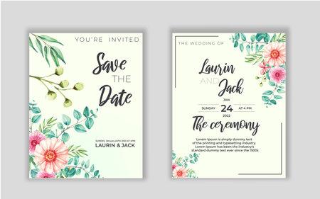 Wedding invitation card with decoration watercolor leaf eucalyptus framed art