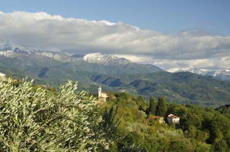mountainside: Tuscany mountainside village Stock Photo