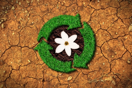 Ecological concept - grass recycle sign on a cracked ground