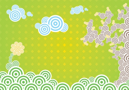 Horizontal vector illustration with spring theme