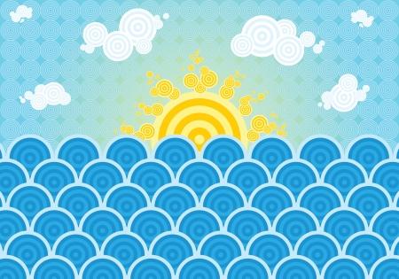 Horizontal vector illustration with summer sea theme Illustration