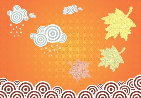 Horizontal vector illustration with autumn theme and leaves