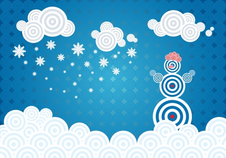 Horizontal vector illustration with winter theme and a snowman