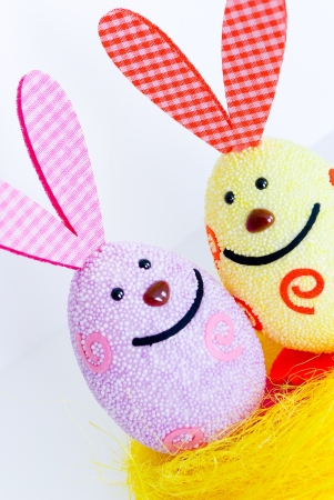 Two Easter bunnies close-up image
