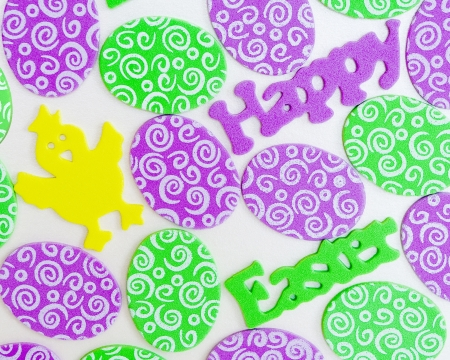 A Happy Easter card with a chicken and eggs from soft material
