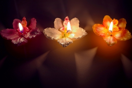 Three burning flower shape candles in a row
