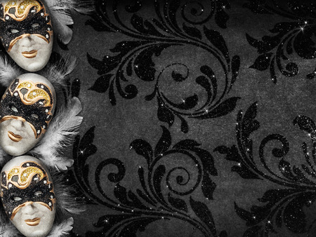 masquerade ball: Horizontal vintage style dark masquerade background