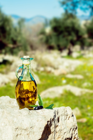 Little glass bottle with olive oil and black olives on a stone with olive trees on the back  Stock Photo