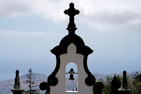 steeple: steeple of a chapel in Funchal, Madeira Stock Photo