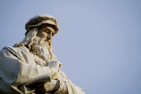 head of Leonardo da Vinci in front of a perfect blue sky Editorial
