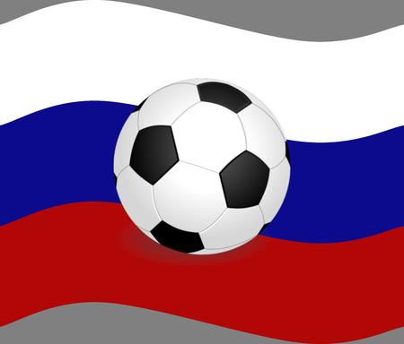 Russian flag with a football Stok Fotoğraf