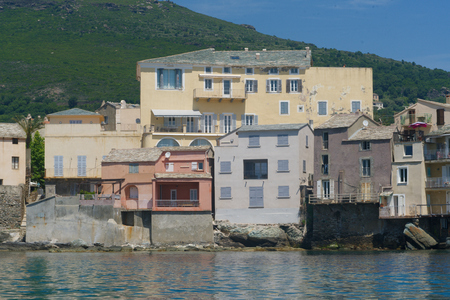 Closeup of the coastline of old and multi-colors houses Stock Photo