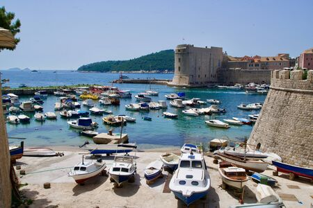 Marina of Dubrovnik under a blue sky
