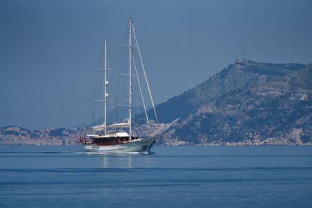 Sailng boat near by Dubrovnik Stok Fotoğraf - 129983306