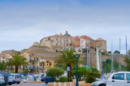 Old town of Calvi under a blue, light cloudy sky in watercolors Redakční
