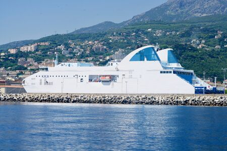 Car ferry in the harbour of Bastia