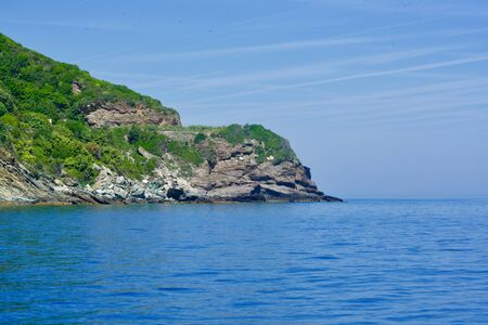 Wallpaper of a greened cliff ending in the blue ocean Stok Fotoğraf