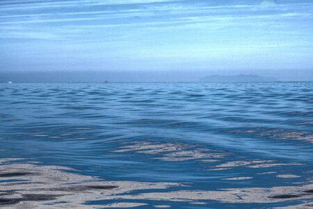 polution on sea water surface