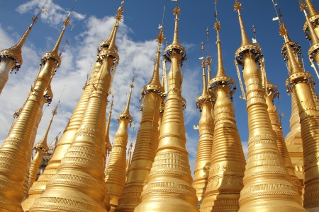 inle: Pagoda with 1054 stupas near inle lake   Inle Lake, Myanmar Stock Photo