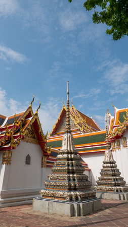Thai art architecture in Wat Phra Chetupon Vimolmangklararm (Wat Pho) temple in Thailand.