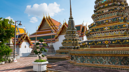 Thai art architecture detail in Wat Arun buddhist temple in Bangkok, Thailand