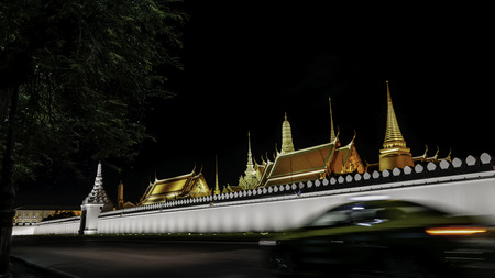 kaew: Night photo of the Emerald Buddha temple(Wat phra kaew) and Royal Grand Palace ,Bangkok,Thailand. . Photo taken on: 3 September  , 2016 Editorial