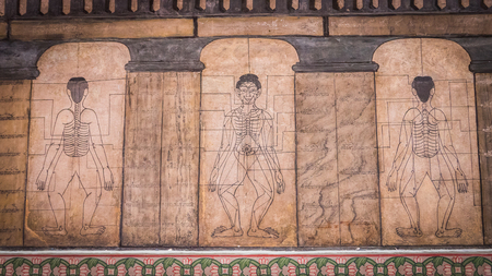 fareast: Bangkok - Thailand , August 25 - 2016 : Paintings from temple Wat Pho teach Acupuncture and fareast medicine at Wat Phra Chetupon Vimolmangklararm (Wat Pho) temple in Thailand.