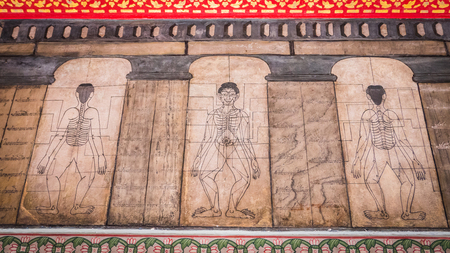 recline: Bangkok - Thailand , August 25 - 2016 : Paintings from temple Wat Pho teach Acupuncture and fareast medicine at Wat Phra Chetupon Vimolmangklararm (Wat Pho) temple in Thailand.