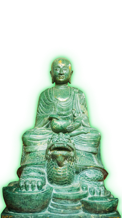 aura: Old Buddha stone green(Lucky stone)Statue Isolated with green aura on a White Background. Stock Photo