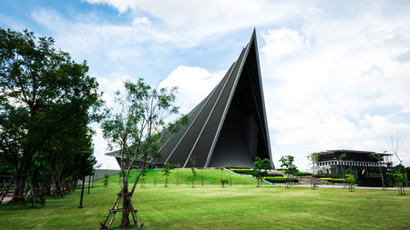 NAKORNPATHOM - SEPTEMBER 25, 2016: Prince Mahidol Hall. The grand hall as the proper venue for the graduation ceremon and It is also a concert hall( largest concert hall of Thailand )of Mahidol university in Nakornpathom, Thailand