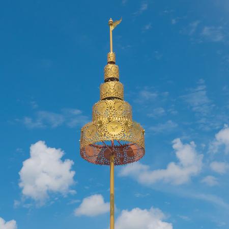 kanchanaburi: KANCHABURI, THAILAND: Detail of Golden tiered on decorating the Buddhist temple  in Wat Hin Thaen Lamphachi temple (Temple public) . Kanchanaburi ,Thailand