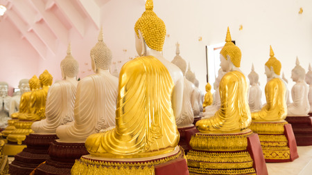 KANCHABURI, THAILAND - SEPTEMBER 24, 2016:Detail of Buddhas statues decorating the Buddhist temple  in Wat Hin Thaen Lamphachi temple (Temple public) . Kanchanaburi ,Thailand Editorial