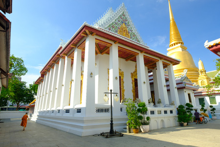 spiritual architecture: Bangkok - Thailand , October 30 - 2016: Beautiful of golden pagoda and thai art architecture in Wat Bovoranives, Bangkok, Thailand. Editorial