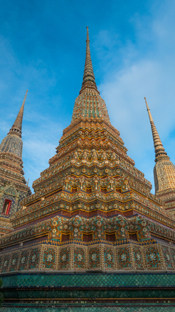Bangkok, THAILAND - November 2, 2016 : Big pagoda and thai art architecture in Wat Phra Chetupon Vimolmangklararm (Wat Pho) temple, Thailand. Photo taken on: 2 November , 2016